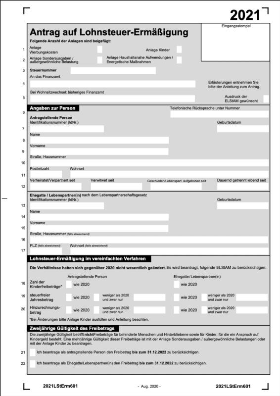 Download des Antrages für die Lohnsteuerermäßigung