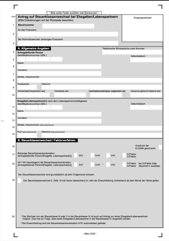 Download des Antrages für den Wechsel der Steuerklasse