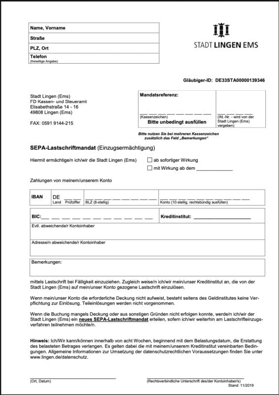 Download des SEPA-Lastschriftmandates der Stadt Lingen