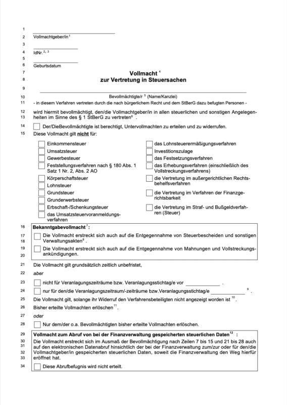 Download des Antrages der Vertretungsvollmacht für den Steuerberater