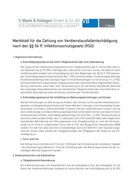 Merkblatt für Erstattungen nach dem IfSG